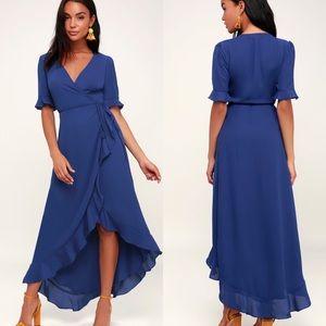Lulu's Wild Winds High Low Wrap Maxi Dress